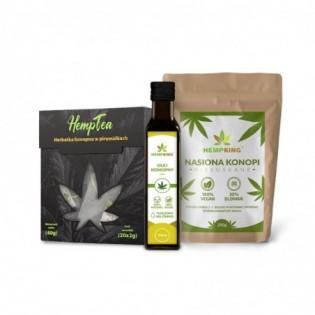 Zestaw: Olej konopny 250ml + Nasiona konopne + Herbatka