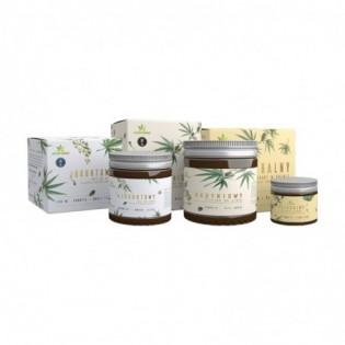 Zestaw: naturalny dezodorant, budyniowy peeling i jogurtowy mus konopny