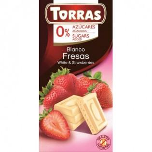 Czekolada biała z truskawkami bez dodatku cukru 75 g - Torras
