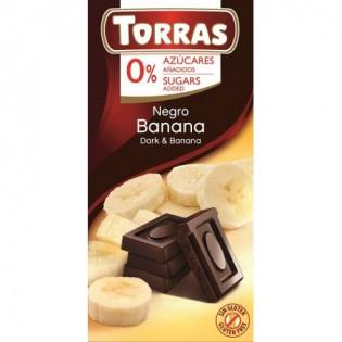 Czekolada gorzka z bananami bez dodatku cukru 75 g -  Torras