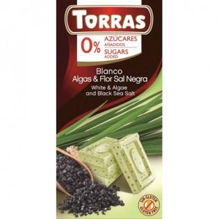 Czekolada biała z algami i czarną solą 75g - Torras