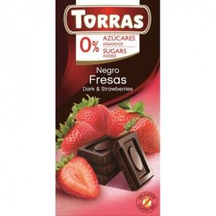 Czekolada gorzka z truskawkami bez dodatku cukru 75 g - Torras