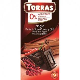 Czekolada gorzka z pieprzem, cynamonem i chili 75 g - Torras