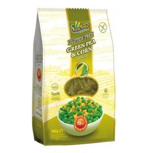 Makaron bezglutenowy zielony groszek i kukurydza świder (fusilli) 400 g - Sam Mills